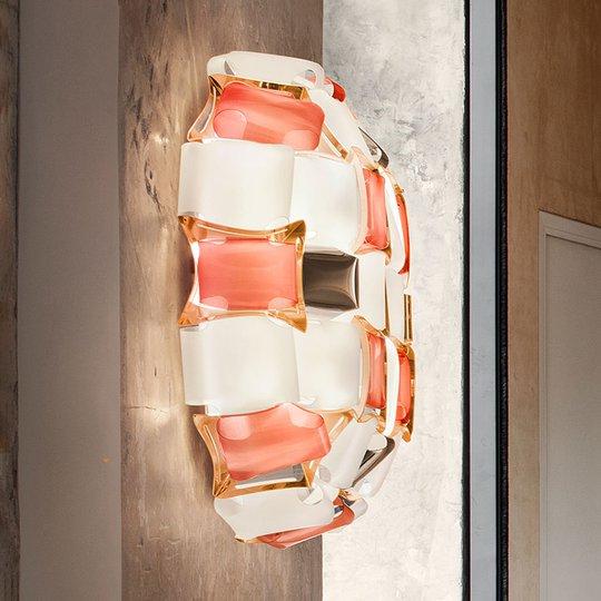 Slamp Mida -seinävalaisin, 32x32 cm, roosa/valk.