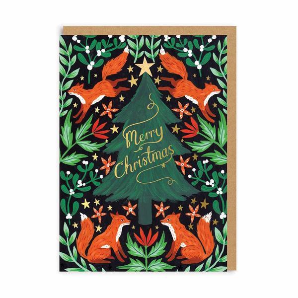 Fox Christmas Tree Christmas Card