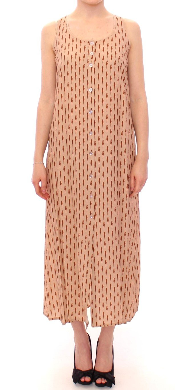 Licia Florio Women's Long Button Front Sleeveless Dress Pink MOM10102 - IT42 M