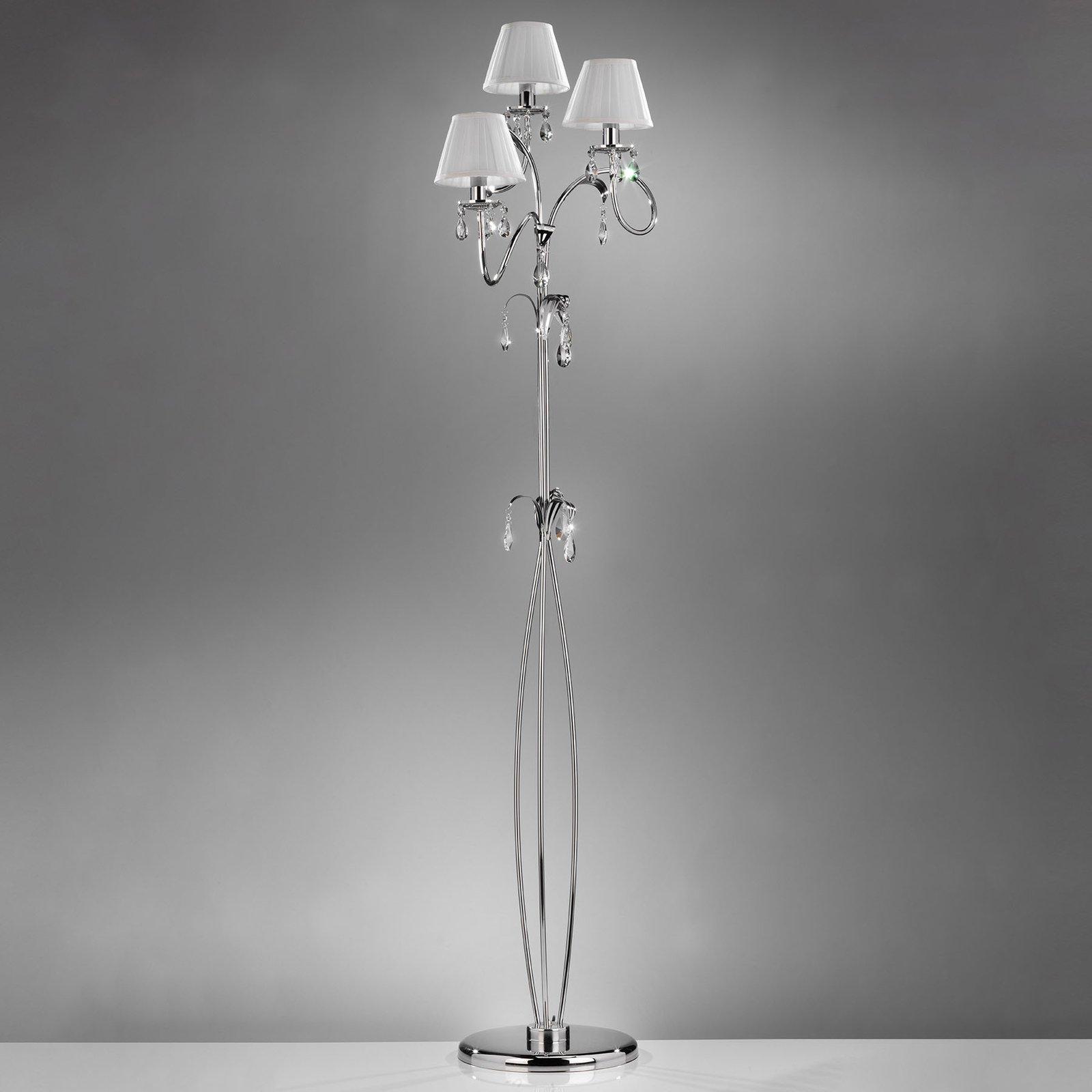 Gulvlampe Jacqueline, 3 lyskilder, hvit