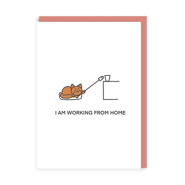 Working From Home Cat Greeting Card