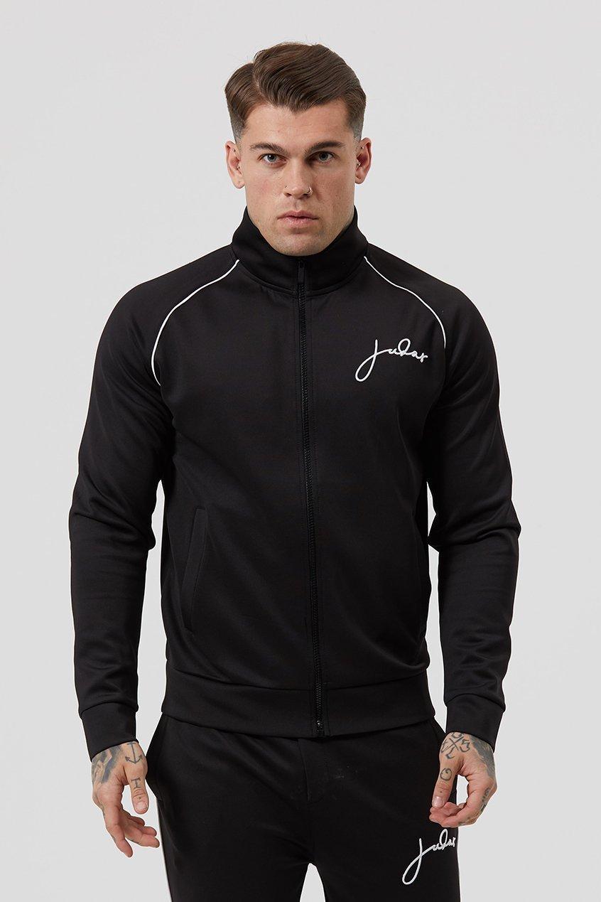 Thru Signature Zipped Men's Track Suit Top - Black, Small