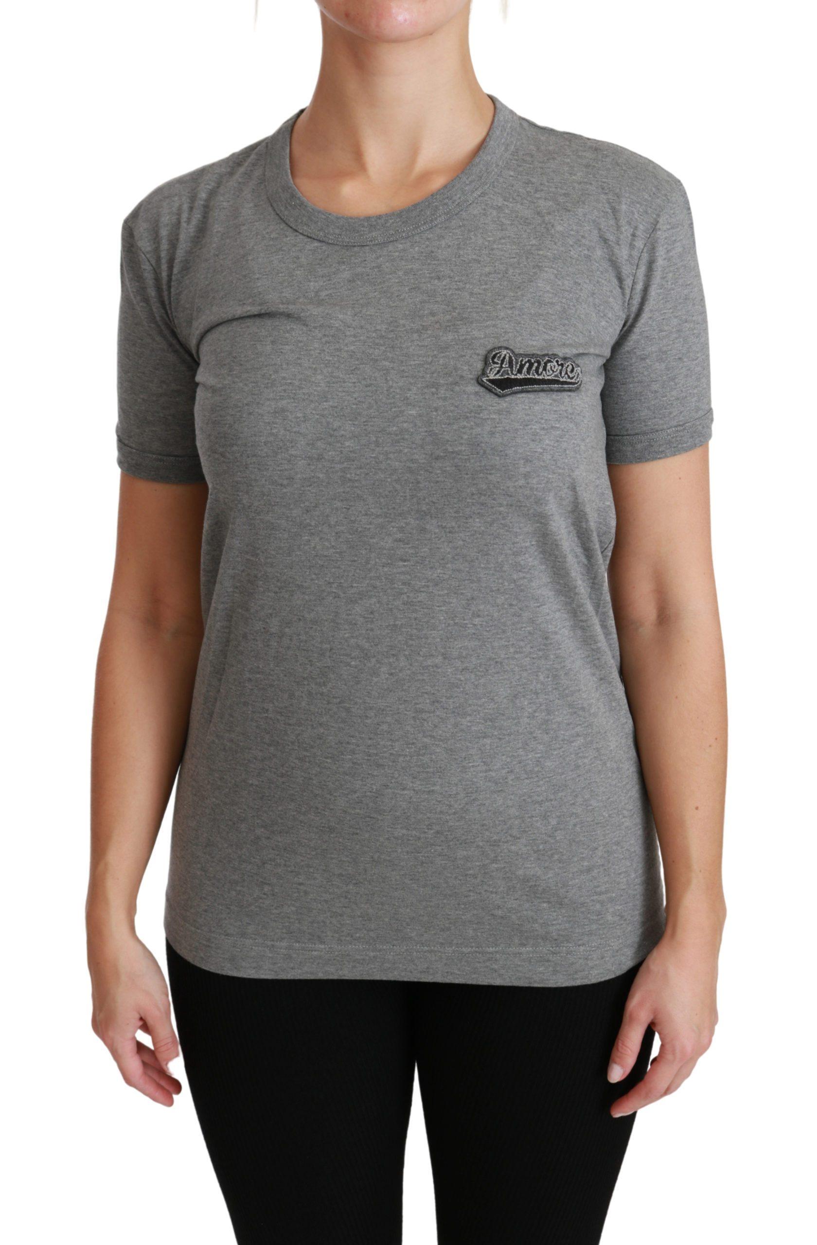 Dolce & Gabbana Women's Crewneck Amore T-Shirt Gray TSH4467 - IT36 | XS