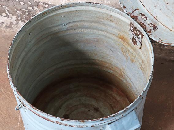 Rustic Metal Storage Drum Blue