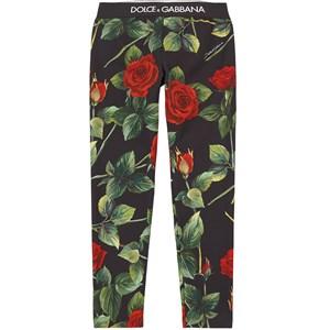 Dolce & Gabbana Rose Print Leggings Svarta 6 år