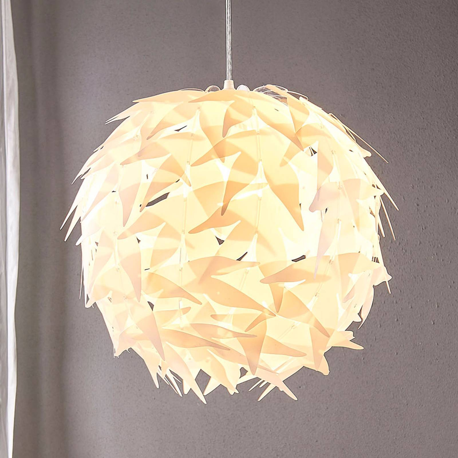 Pyöreä Corin-riippuvalaisin, valkoinen