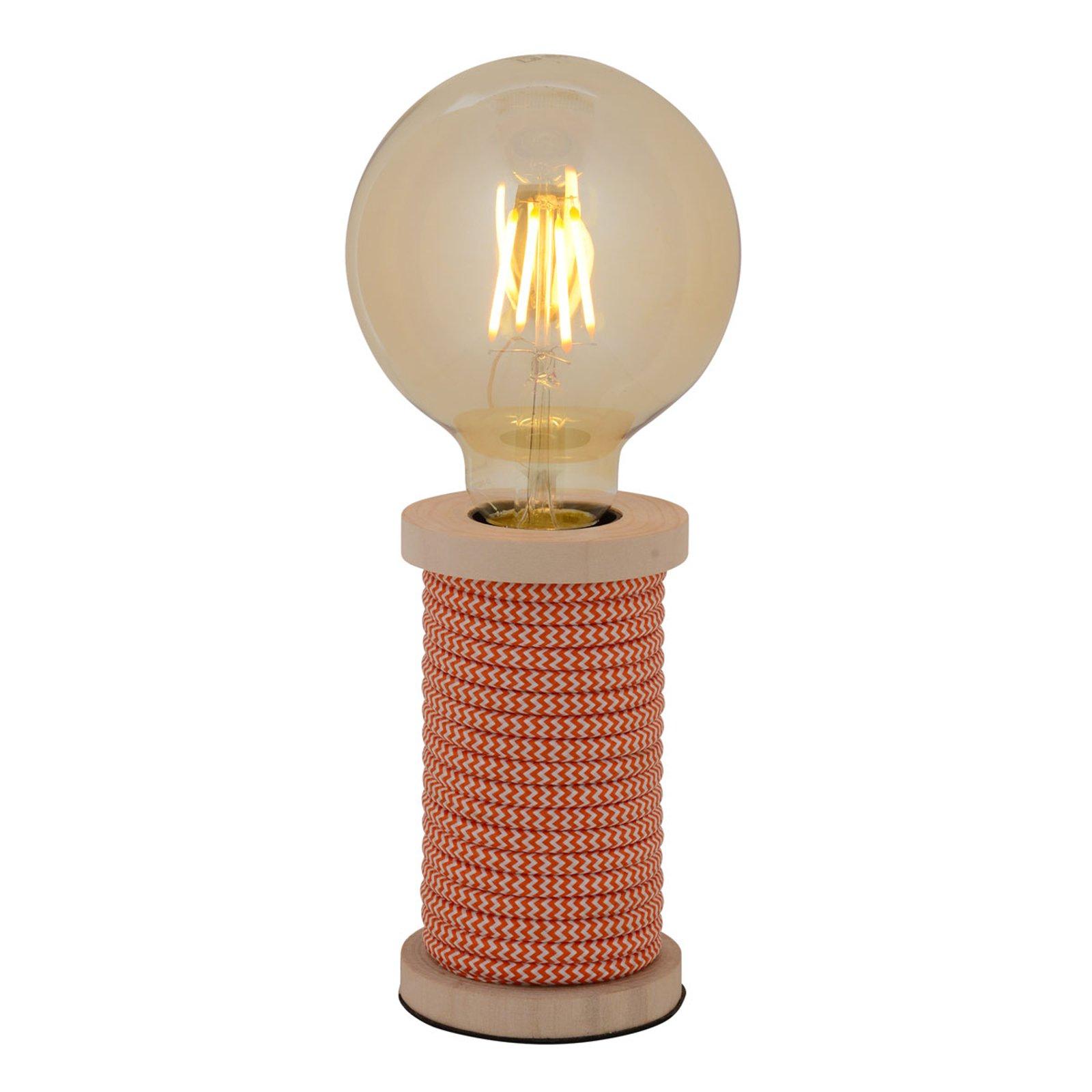 Bordlampe Max med fot i tre oransje