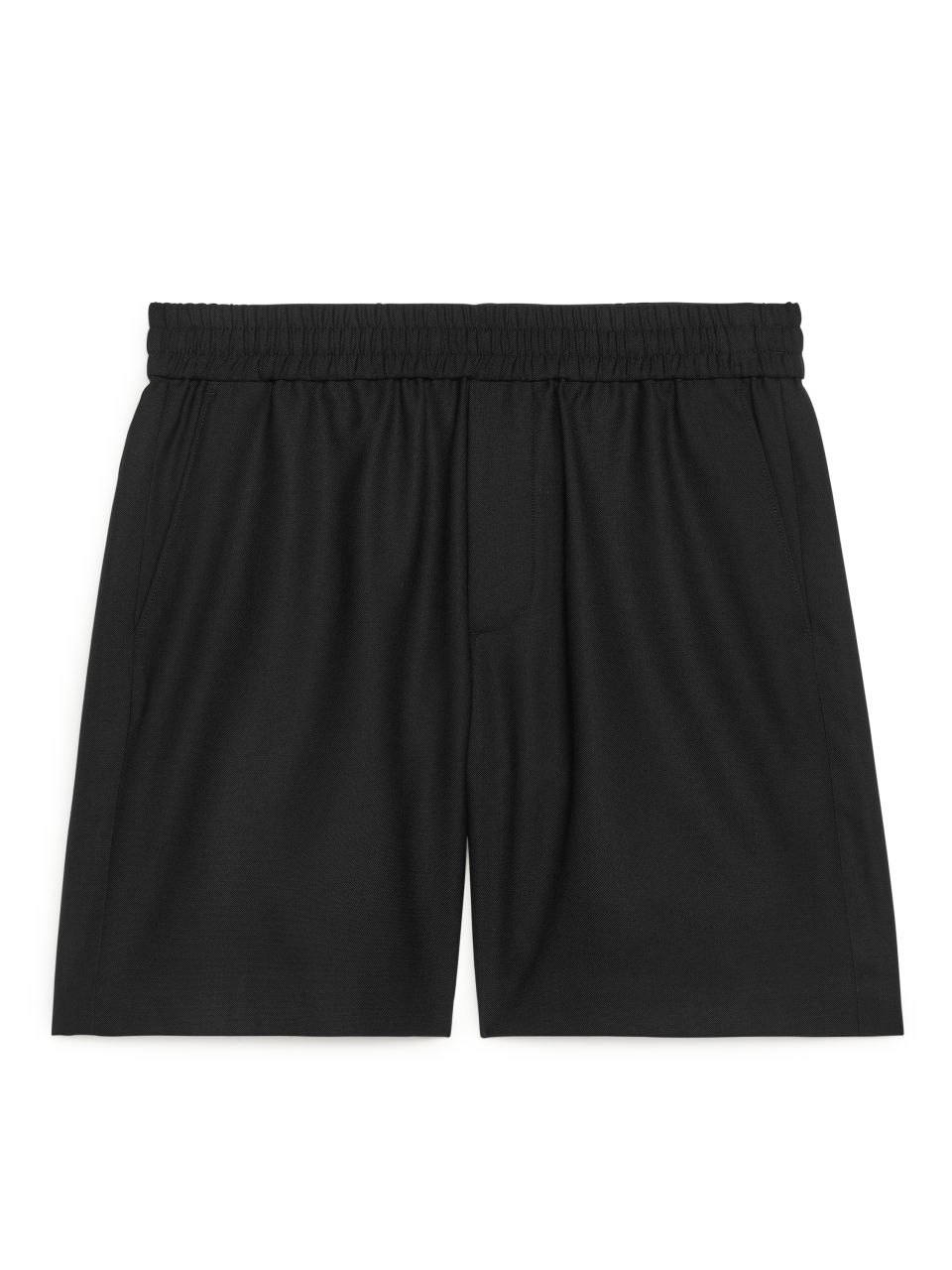 Wool-Blend Drawstring Shorts - Black