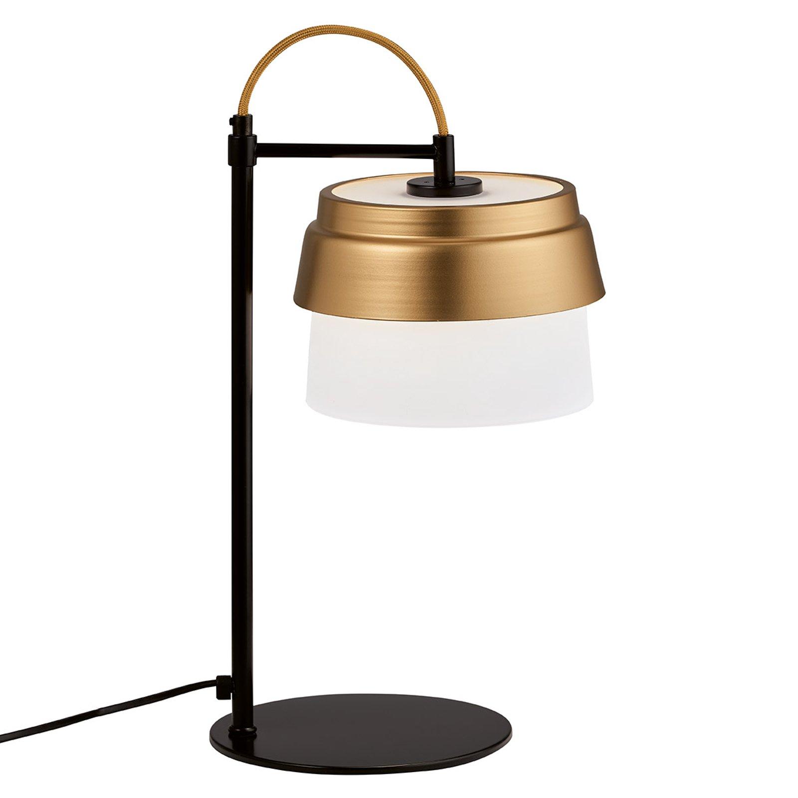 Bordlampe Morgan med glass skjerm hvit-gull