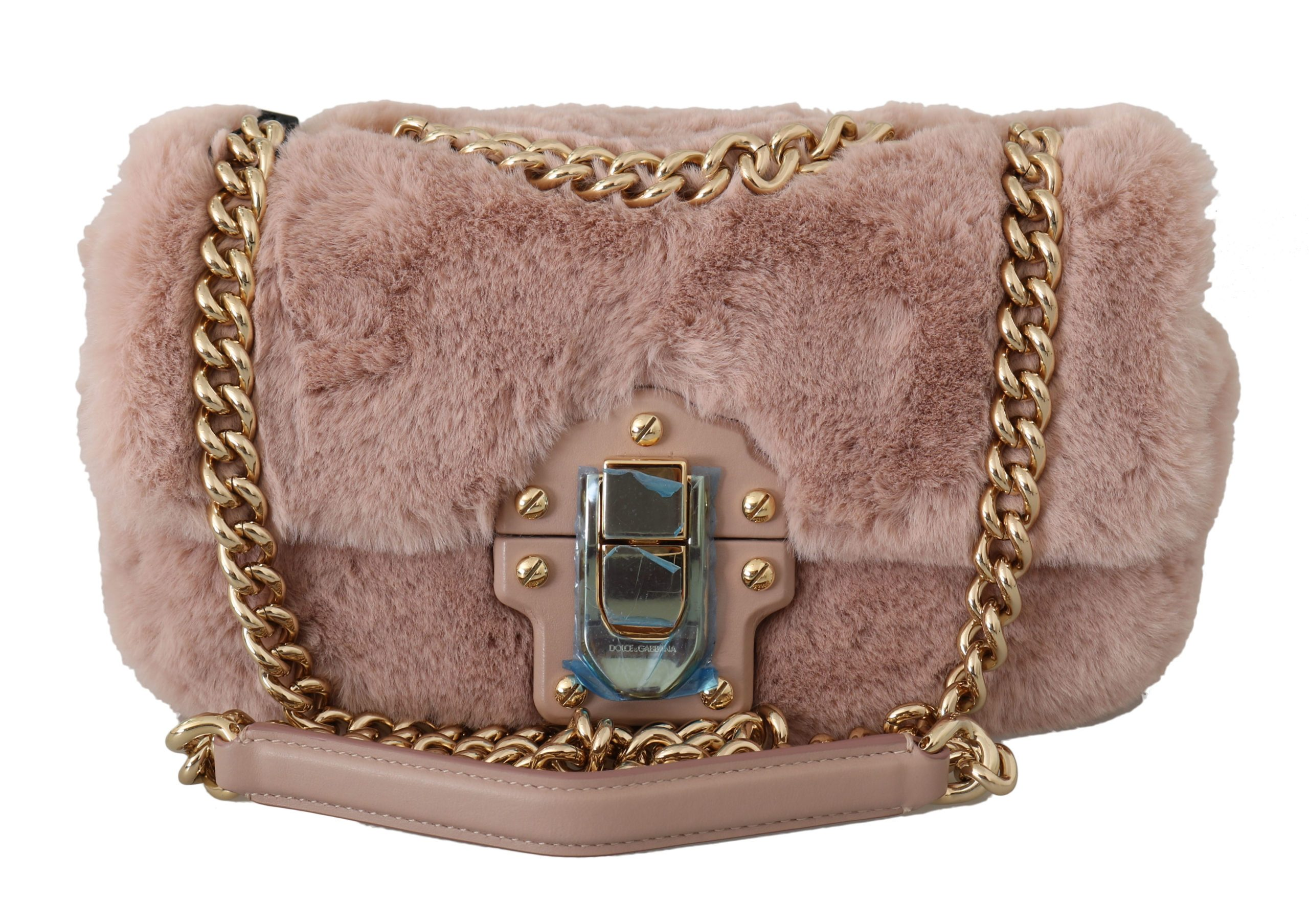 Dolce & Gabbana Women's Fur LUCIA Hand Shoulder Bag Pink VAS8747