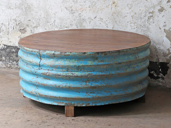 Metal Upcycled Coffee Table - Blue Blue