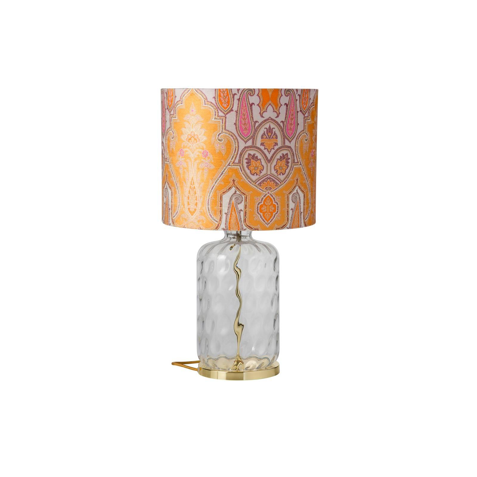 EBB & FLOW Pillar -pöytälamppu Brocade yellow/pink