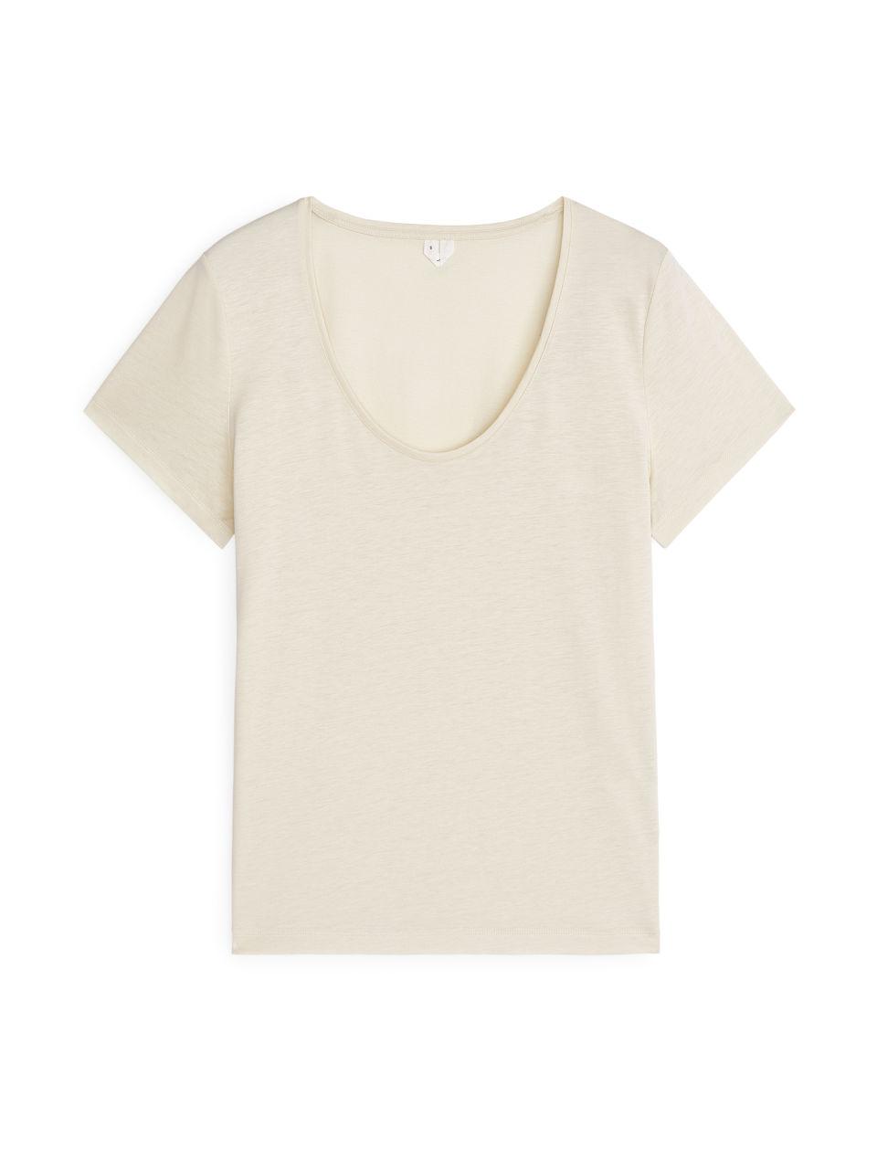 Lyocell Blend T-Shirt - Beige
