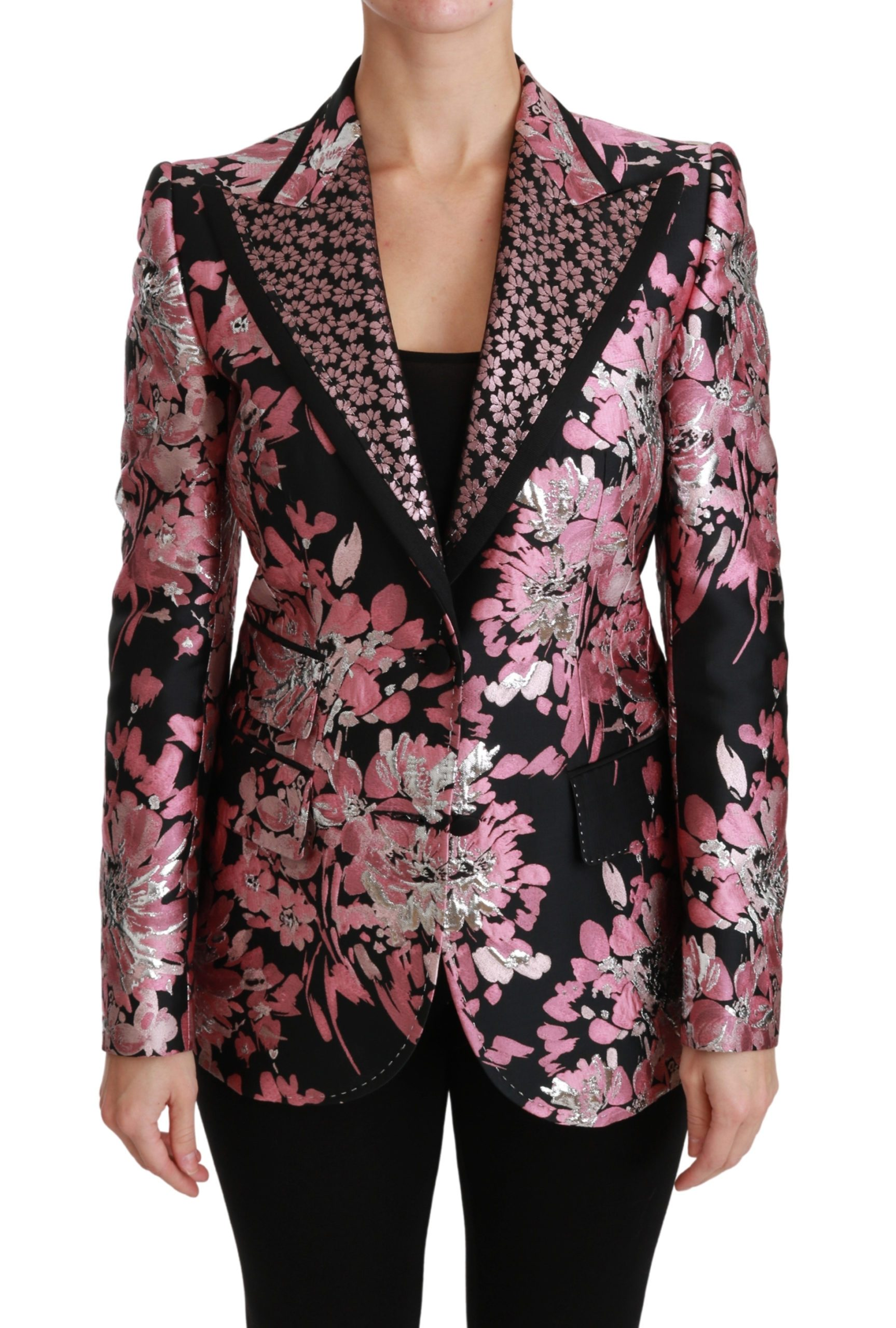 Dolce & Gabbana Women's Pink Jacquard Slim Fit Blazer Black JKT2566 - IT42 M