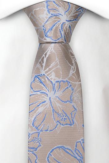 Silke Smale Slips, Metallisk beige kyper, store hvite & blå blomster
