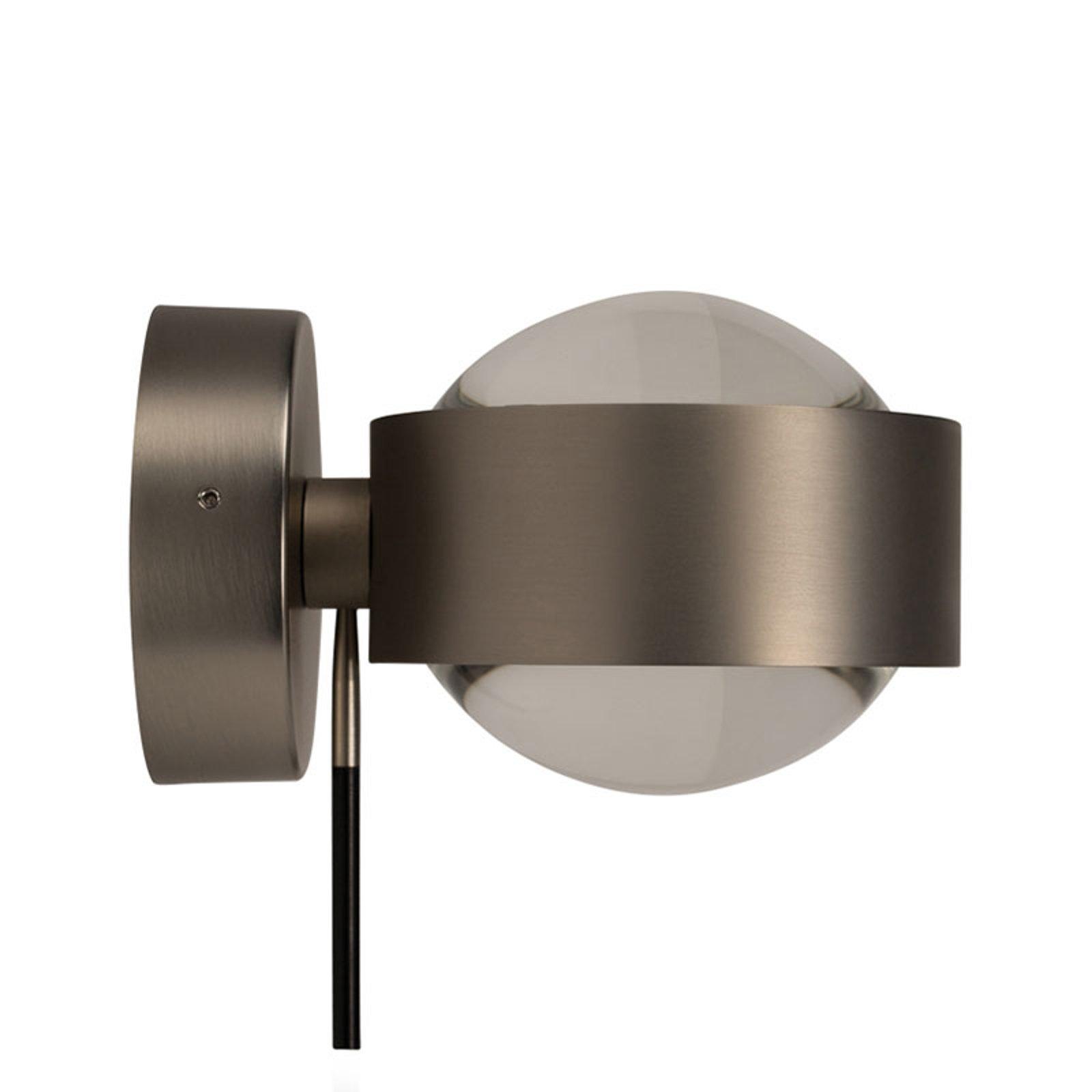 LED-vegglampe Puk Wall+, matt nikkel