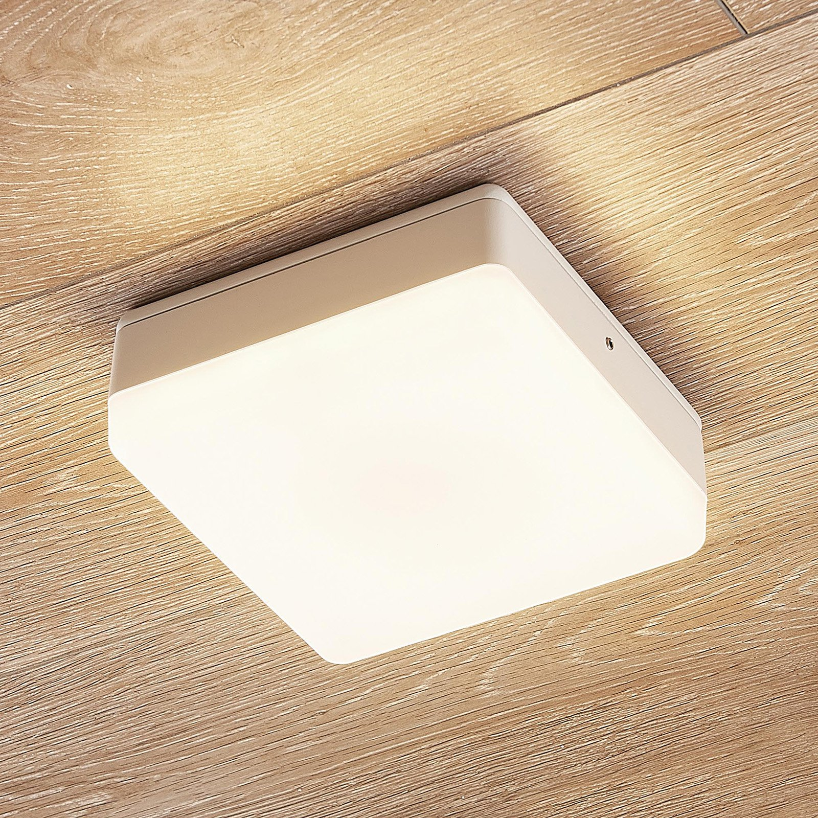 LED-taklampe Thilo, IP54, hvit, 16 cm
