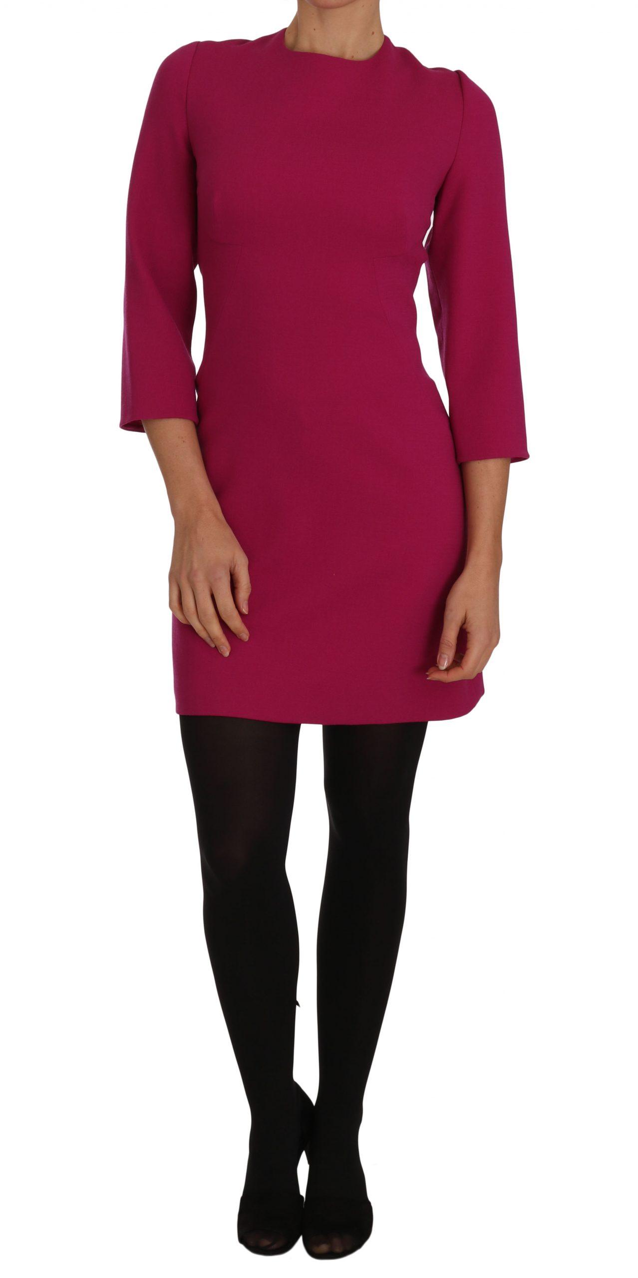 Dolce & Gabbana Women's Crêpe Sheath Wool Mini-Length Dress Pink DR1470 - IT46   L