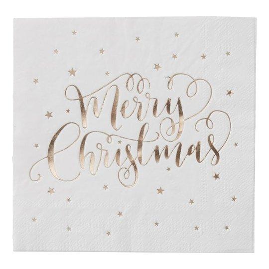 Servetter Merry Christmas Guld - 20-pack