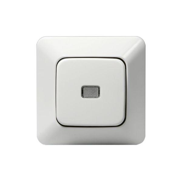 ABB 1466UK2 Trykknapp innfelt, IP20, alpinhvit Med separat lampe