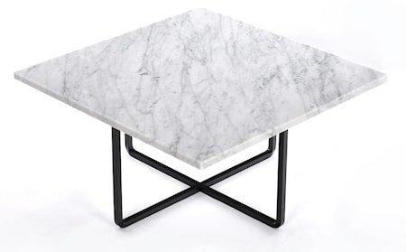 Ninety 60x60 sofabord - Carrara/svartlakkert metallstomme