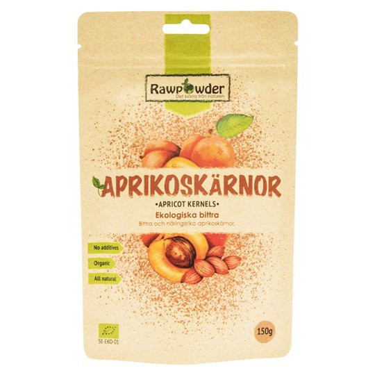 Rawpowder Ekologiska Aprikoskärnor Bittra, 150 g