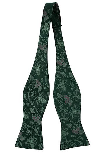 Silke Sløyfer Uknyttede, Ljusgröna Blomster, mörkgrön bas, mörkrosa Prikker