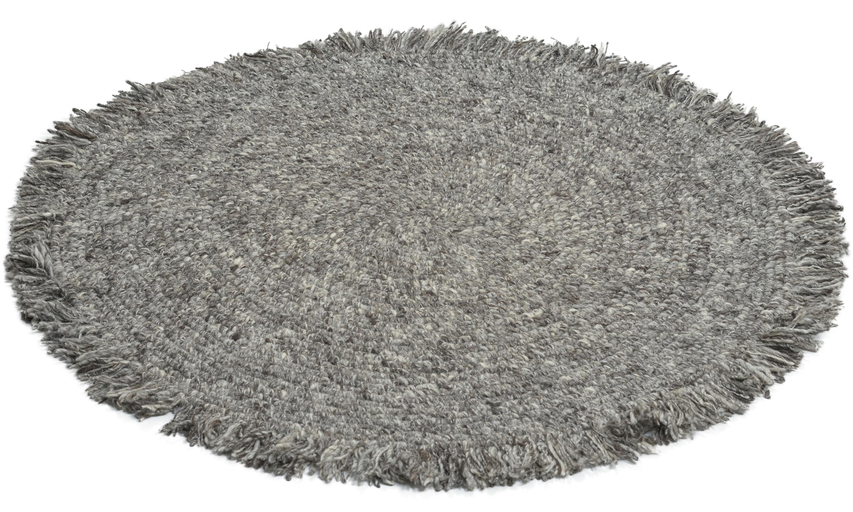Slite rund sølv - håndvevd ullteppe