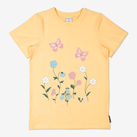 T-skjorte med blomstertrykk gul
