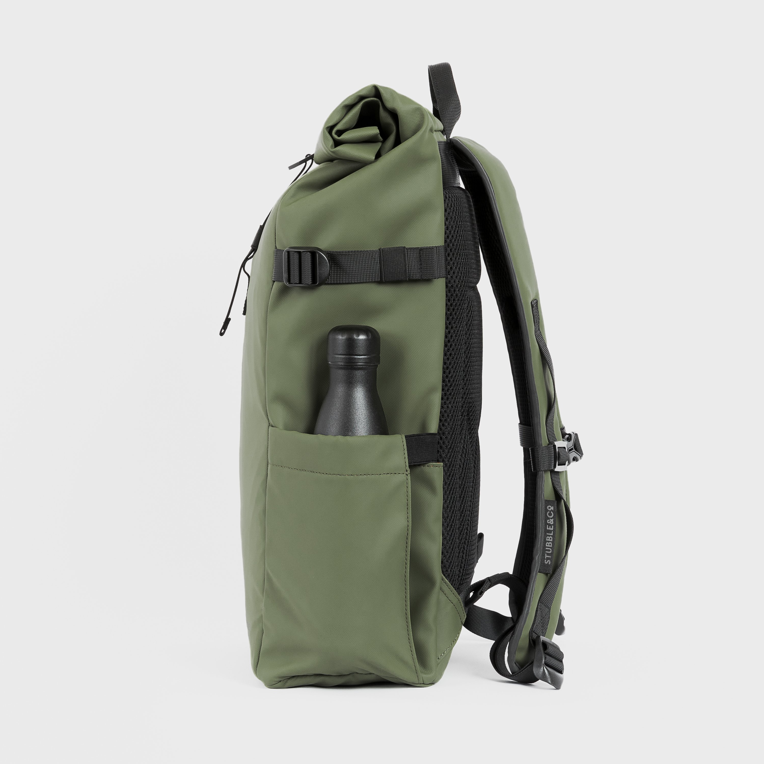 """The Roll Top. Made From Recycled Plastic. 16"""" Laptop Pocket., Urban Green"""