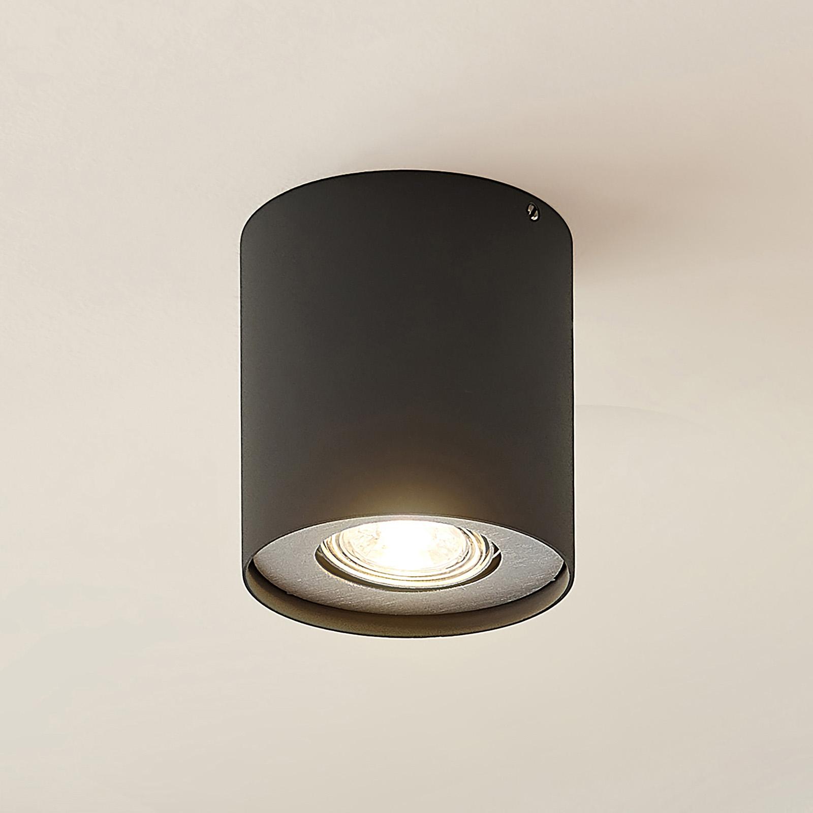 Lindby Laron GU10-alasvalo, pyöreä, harmaa