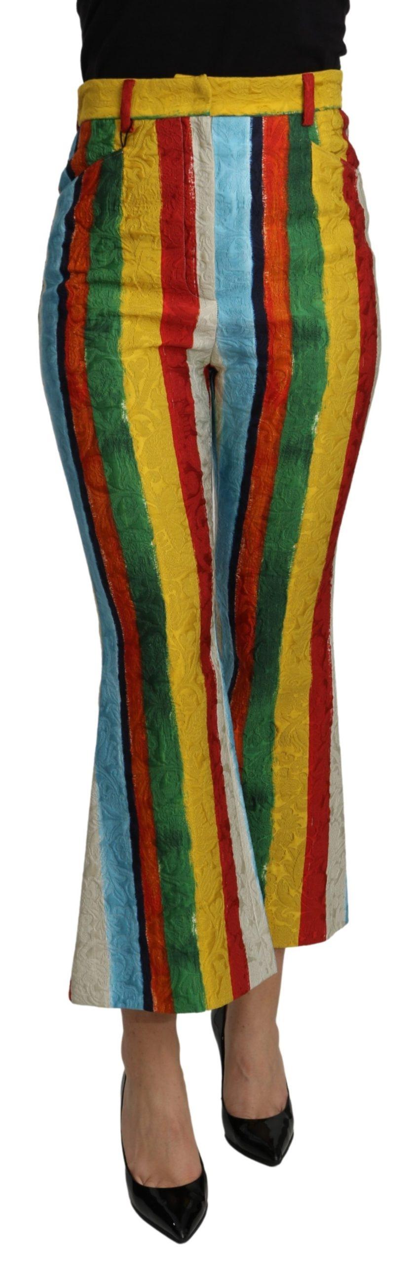 Dolce & Gabbana Women's Stripes Flared Brocade Trouser Multicolor PAN71090 - IT36 | XS