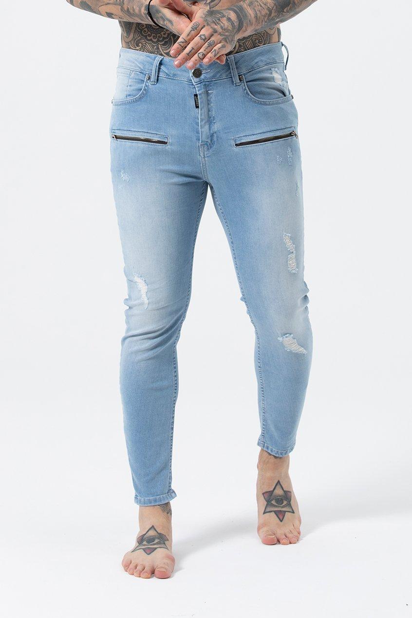 Kurt Men's Skinny Fit Jeans - Light Blue, 32 inch waist
