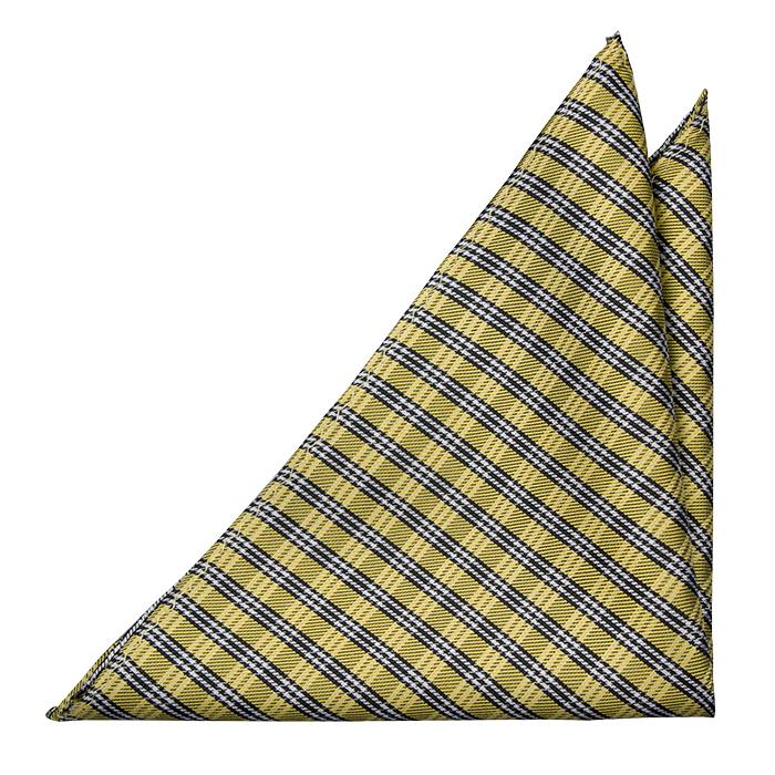 Silke Lommetørkler, Detaljert rutet mønster i svart, gull og hvit, Gull, Pledd