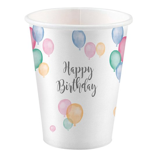 Pappersmuggar Happy Birthday Pastell - 8-pack