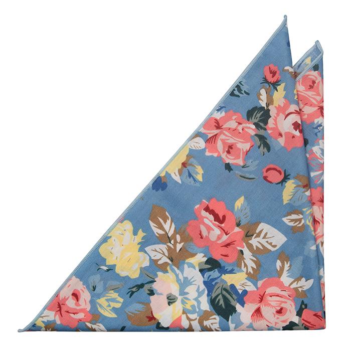 Bomull Lommetørkler, Gule og rosa blomster på blå bakgrunn og hvit kant