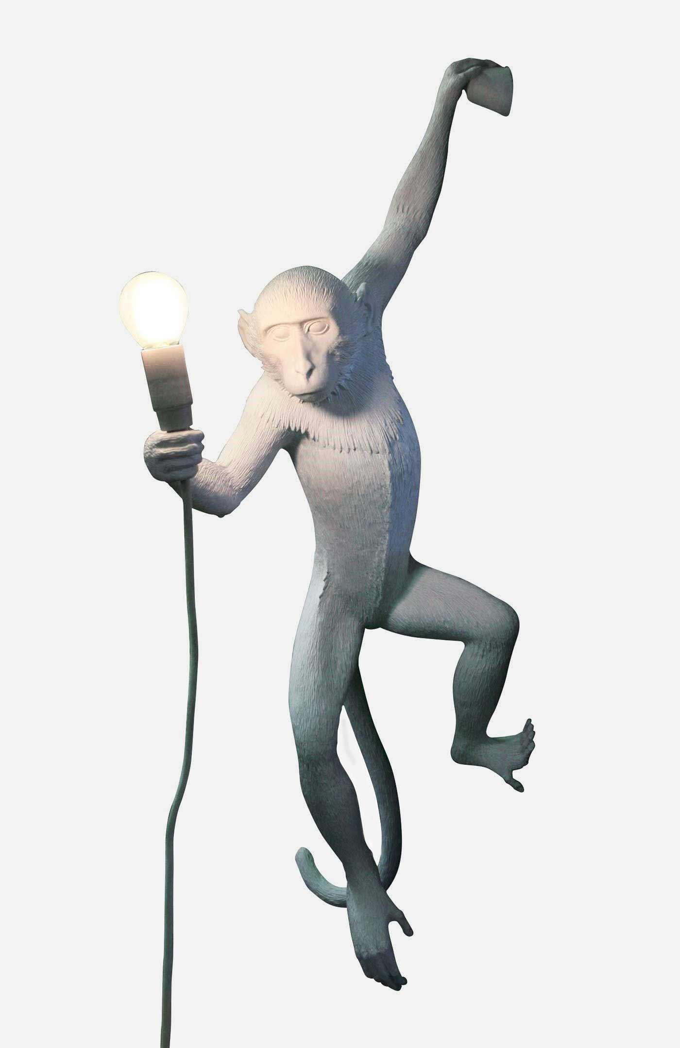 Vägglampa apa hängande vit