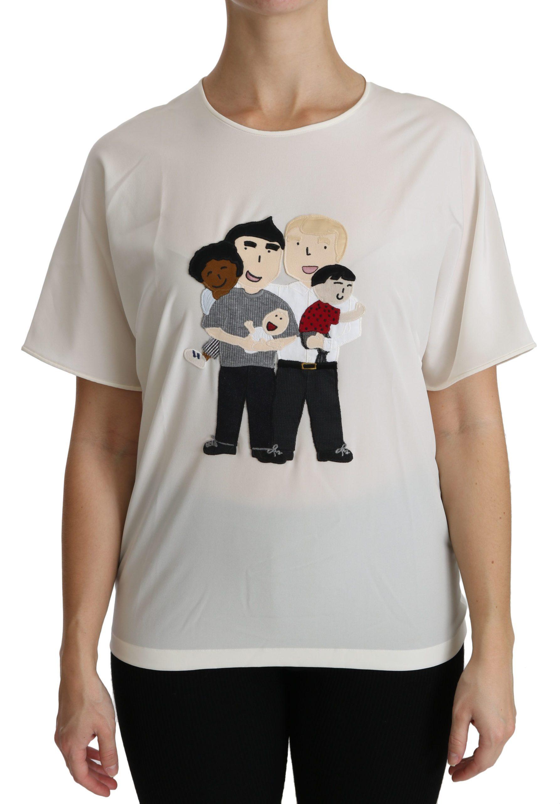 Dolce & Gabbana Women's Patch Short Sleeve T-Shirt White TSH4297 - IT42|M