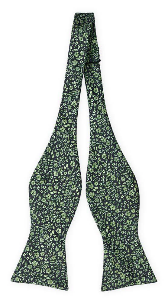 Silke Sløyfer Uknyttede, Mørkeste marineblått med grønt, blomstermønster