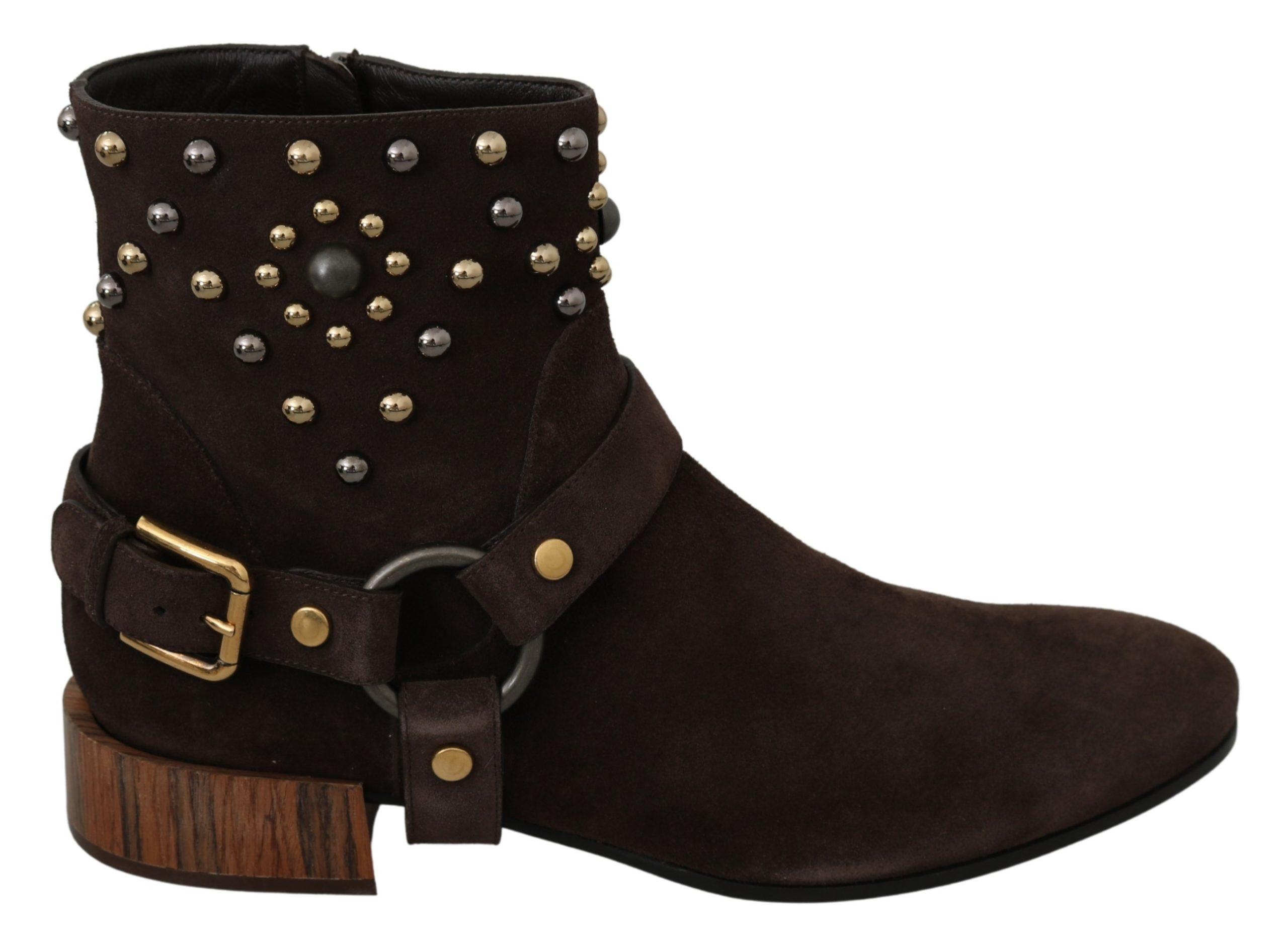 Dolce & Gabbana Women's Suede Studded Cowboy Boot Brown LA7050 - EU39/US8.5