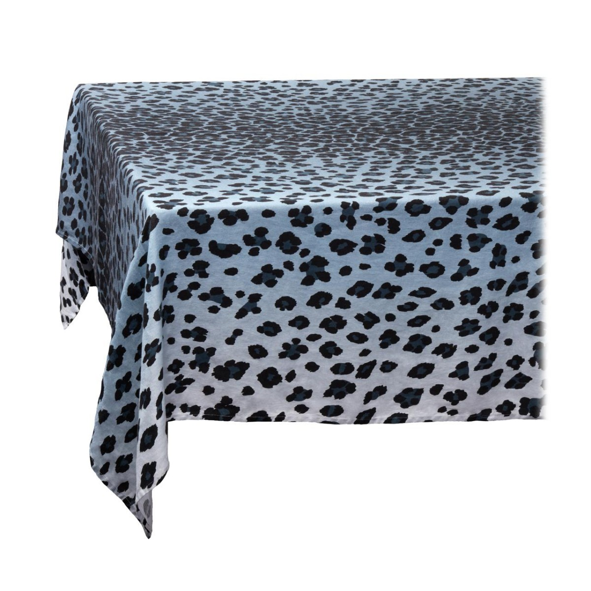 L'Objet I Linen Sateen Tablecloth I Medium I Leopard - Blue