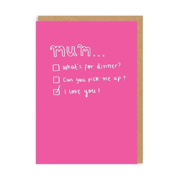Mum Tick Box Greeting Card