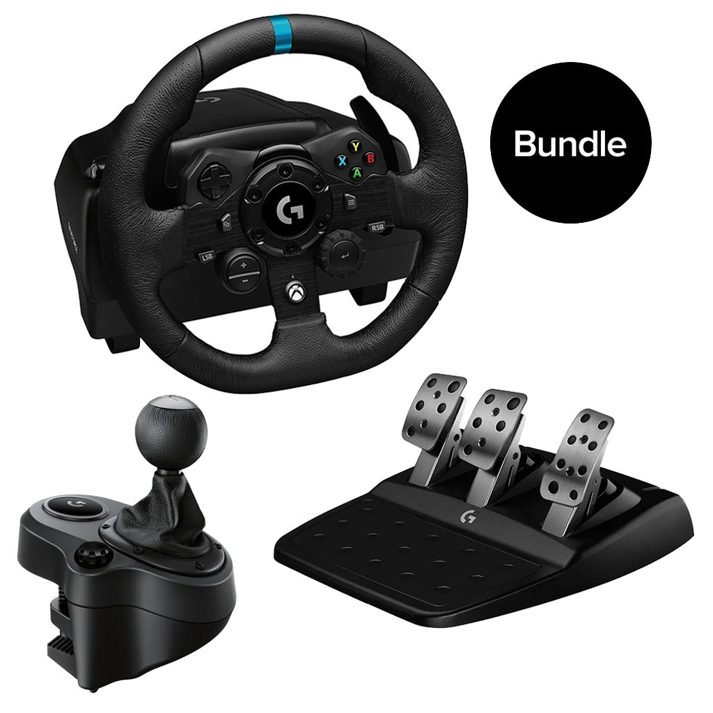 Logitech - G923 Racing Wheel and Pedals & Driving Force Shifter for Xbox One and PC - Bundle