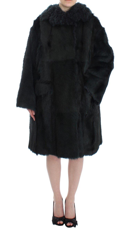 Black Goat Fur Shearling Long Jacket Coat - IT40|S