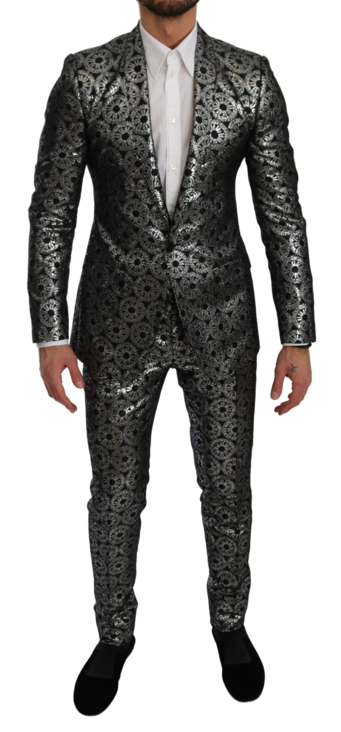 Dolce & Gabbana Men's Slim Fit GOLD 2 Piece Suit Blue KOS1790 - IT46   S
