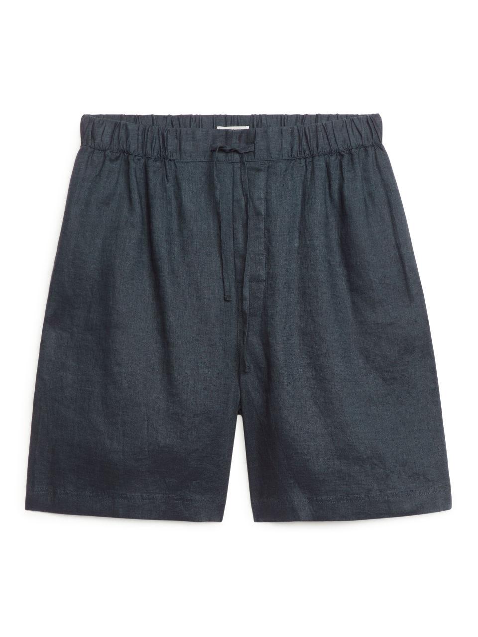 Linen Shorts - Blue