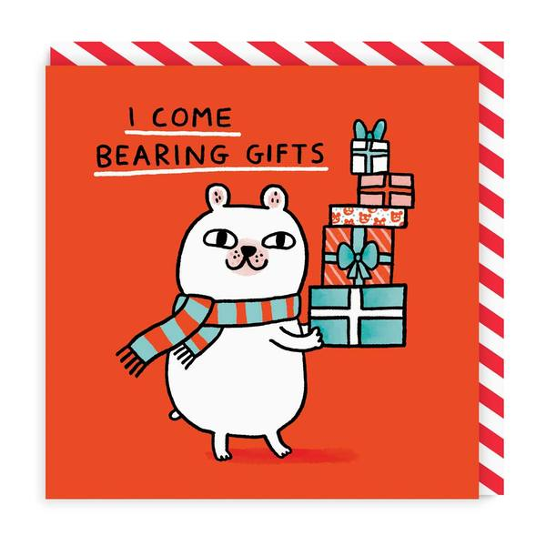 I Come Bearing Gifts Square Christmas Card