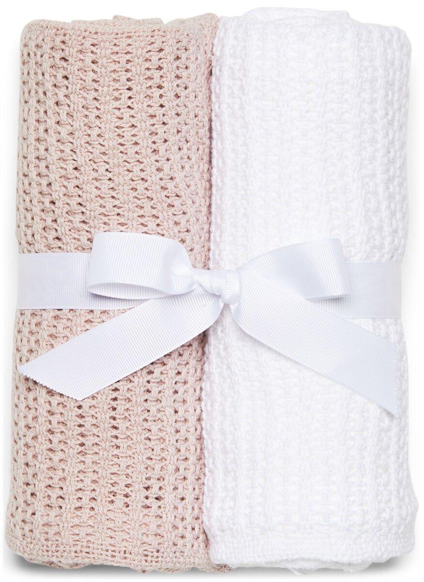 Minitude Virkatut Viltit 2-pack, Vaaleanpunainen/Valkoinen