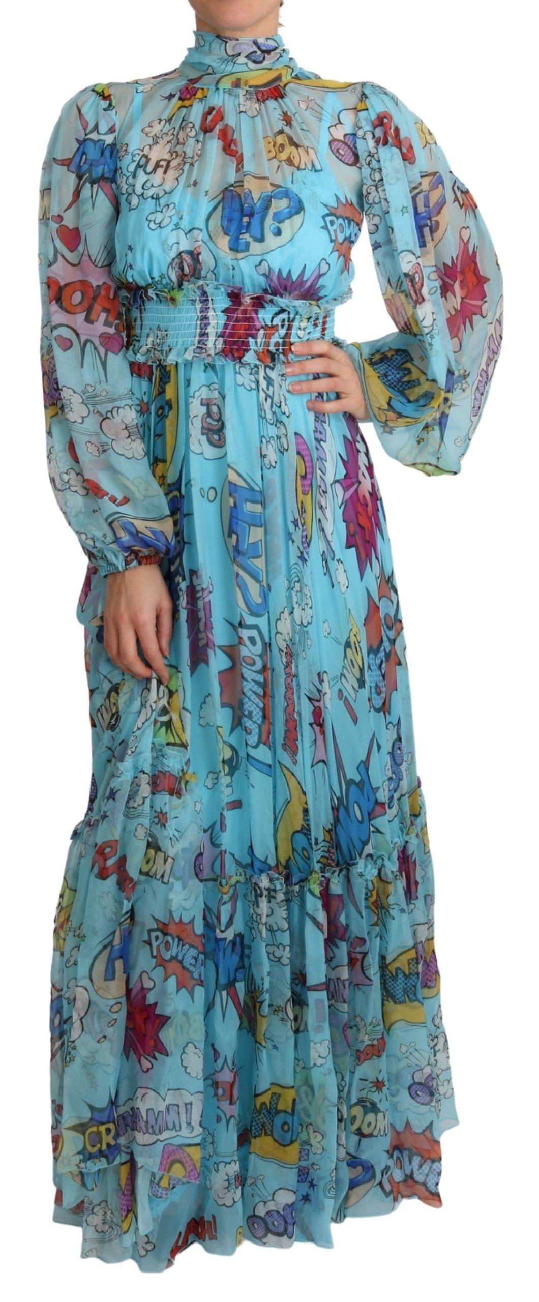 Dolce & Gabbana Women's Cartoon Print Pleated Dress Blue DR2573 - IT38 XS