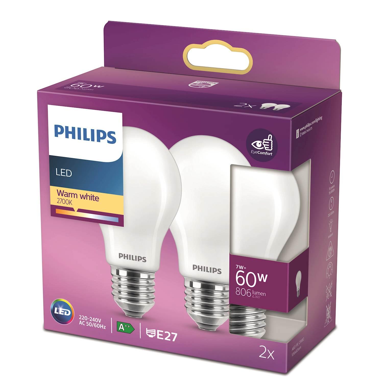 Philips LED Classic nor 60w e27 2P